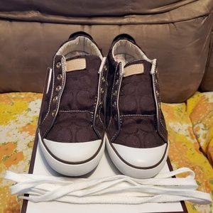 Coach Barrett Lace Up Brown Sneakers